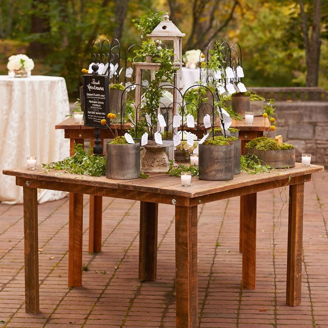 An elaborate, garden-inspired escort card display stood at the center of the cocktail hour. Wood lanterns, moss filled metal pots with billy balls, candles and vines of ivy looked rustic and romantic.