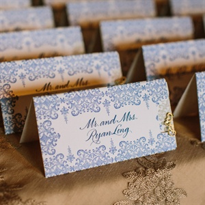 Elaborate Navy and Cream Escort Cards