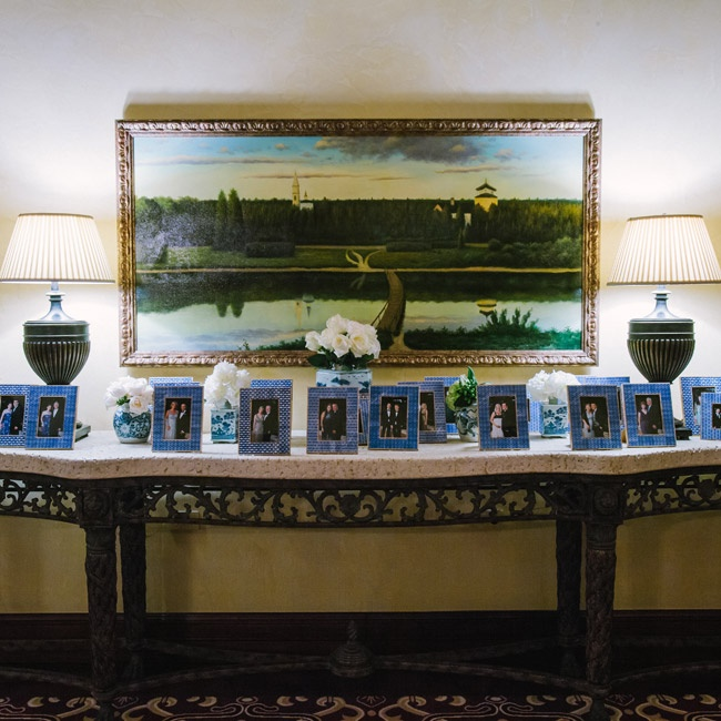 "A photo of each guest with their significant other was taken during the reception, and at the end of the night they were surprised to see the photos printed in a chic blue-and-white decorative frame waiting as a favor.  ""I liked the idea because everyone is dressed their best and it's something that people would actually keep,"" explains Leslie. ""No ..."