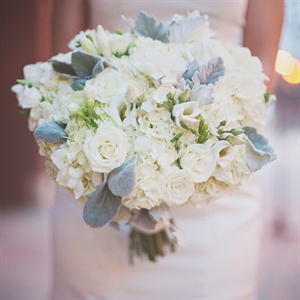 Sophisticated White and Gray Bridal Bouquet