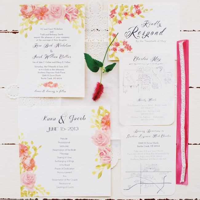 The couple received this elegant, floral-themed watercolor invitation suite as a gift from a friend.