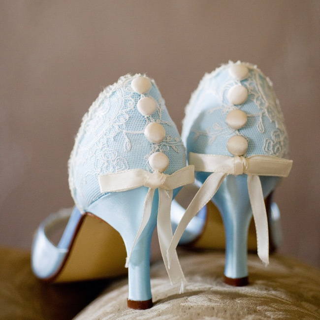 The bride got these heels custom dyed and added the lace and buttons for her wedding day.