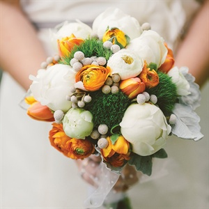 Textured White and Orange Bridal Bouquet