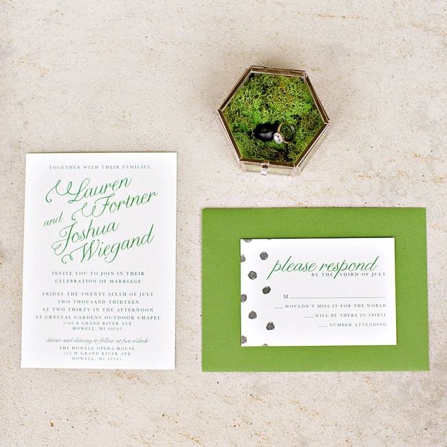 The invitations had green script typeface, playful black polka dots and green envelopes that tied the look together.