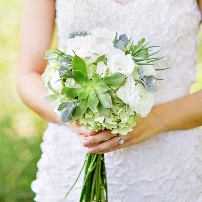 Lauren's bouquet had a textured, sophisticated feel with hydrangeas, ranunculuses and succulents in ivory, slate and pale green.