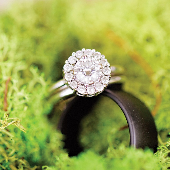 Lauren's engagement ring was custom made using heirloom diamonds.