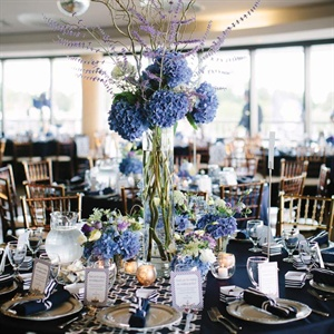 Blue Hydrangea Reception Decor