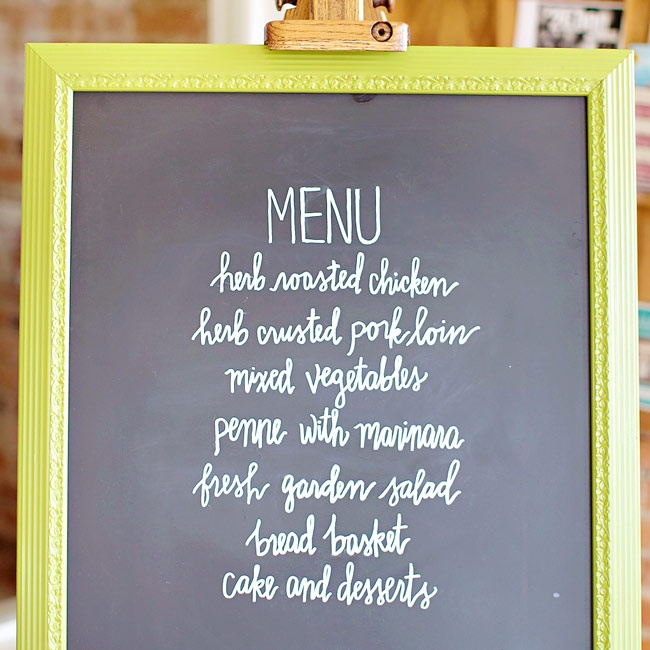 The menu was written on a chalkboard in a lime green frame displayed on an easel.
