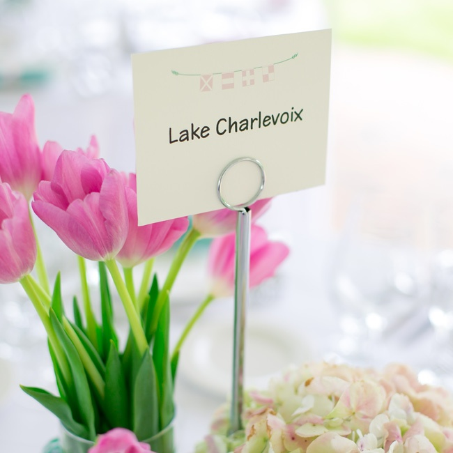 Each table was named after a different lake during the reception dinner.