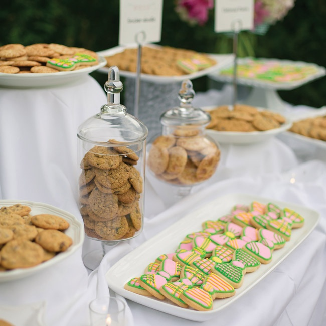 A variety of cookies were displayed on a dessert table at the reception, along with the signature bowtie cookies.