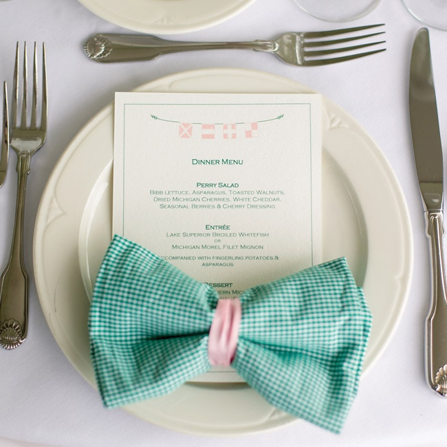 Even the place settings and napkins were made to look like bowties at the reception.