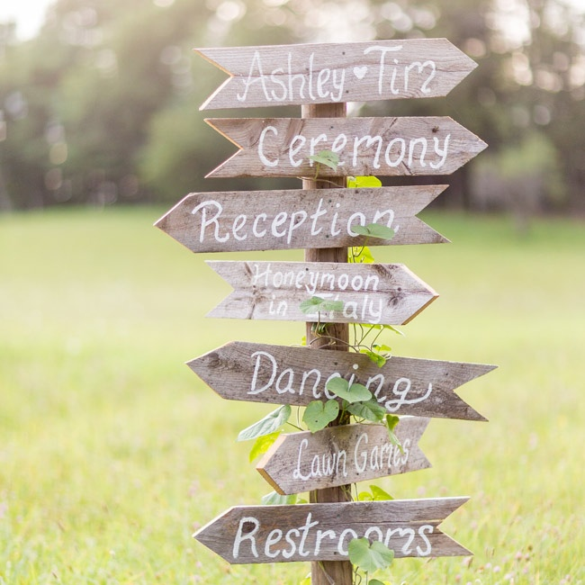 Ashley and Tim had these signs panted on aged wood pointing to the locations of different wedding events.