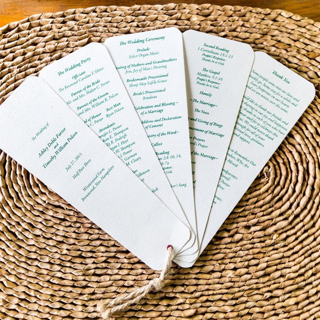 Guests received these green and white programs tied together with twine on their ceremony seats.