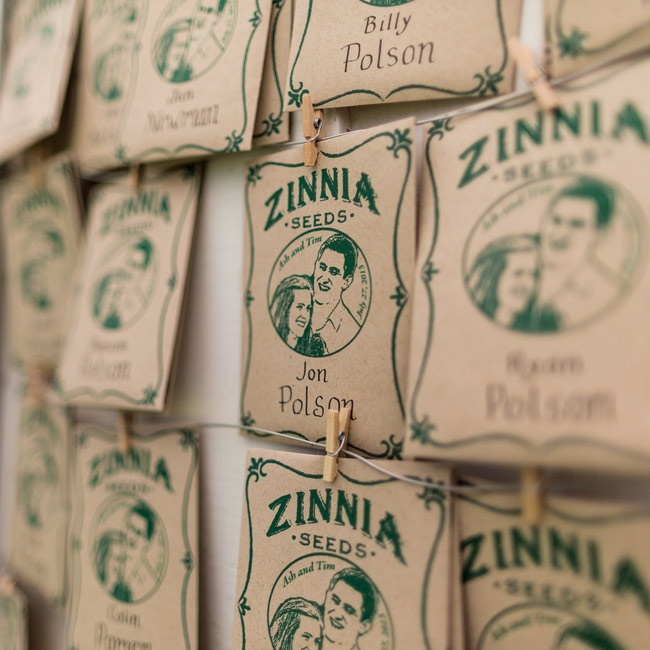 Guests walked away with packets of zinnia seeds with the couple's illustrated portrait as favors.