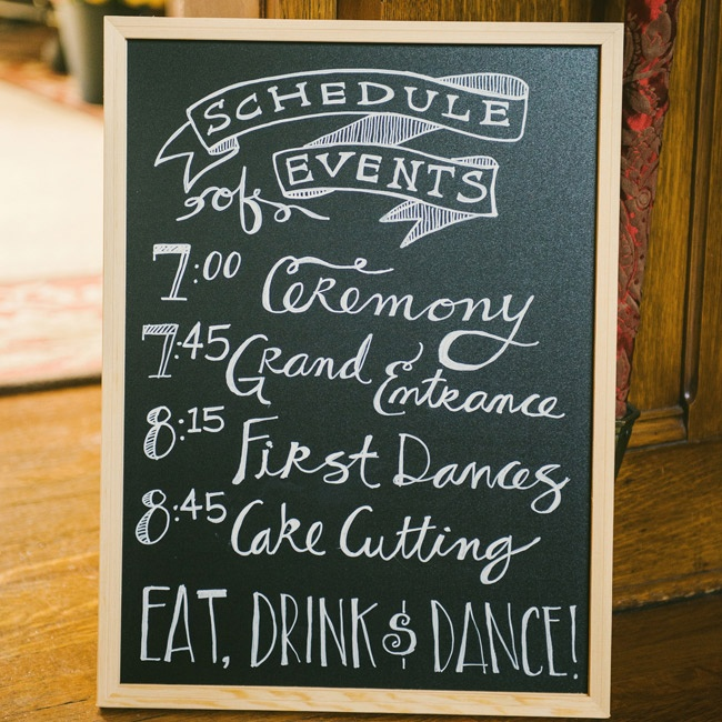 Caitlin's friend Liz, a graphic designer, made the chalkboard schedule of events and program for the ceremony and reception.