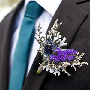 Lavender and Thistle Boutonniere
