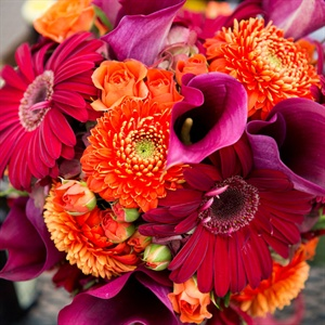 Bright Red and Purple Bridal Bouquet