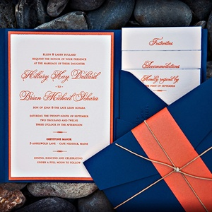 Navy and Orange Portfolio Invitation Suite