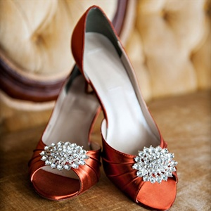 Copper Crystal Embellished Heels
