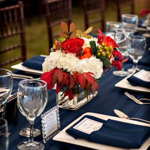 Navy and Ivory Reception Tables