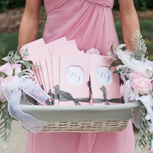 Pink Monogrammed Ceremony Programs