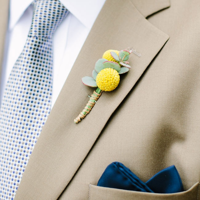 Mike wore a double craspedia (billy ball) boutonniere with succulent backing and hemp twine wrap.
