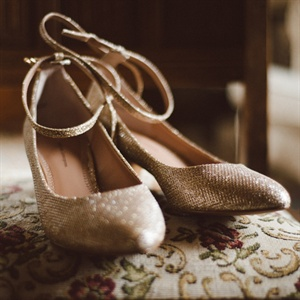 Shimmery Gold Bridal Shoes