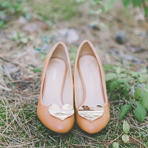 Gold Heart Bridal Shoes