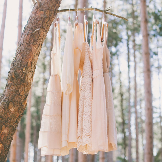 The bridesmaids wore their own dresses in soft shades of cream and blush pink.