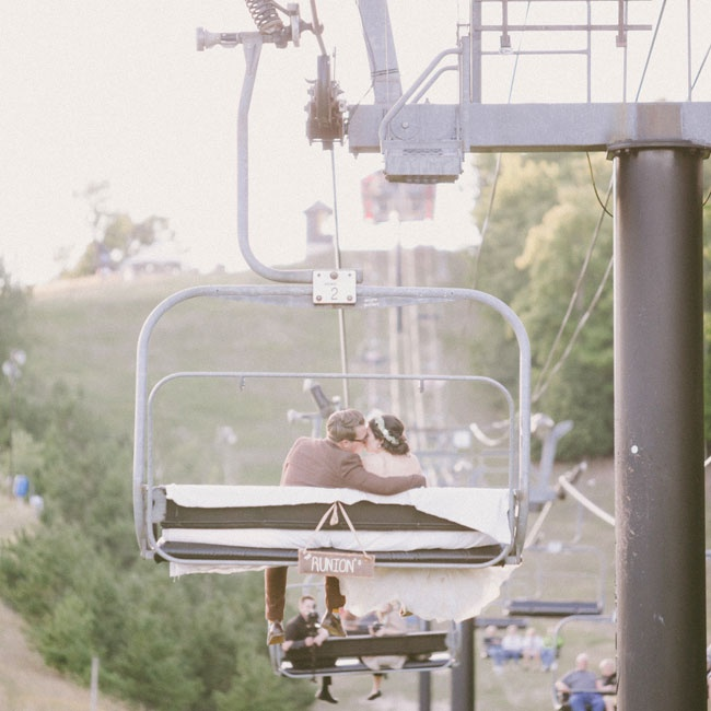 The couple made their exit down the mountain on a chairlift.