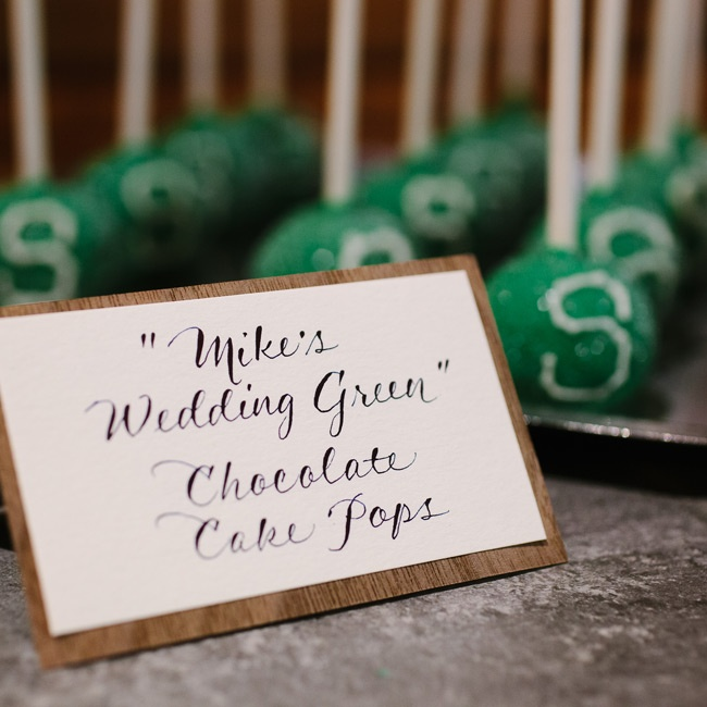 Instead of a wedding cake, Karie and Mike offered guests a trio of mini desserts including Michigan State University cake pops.