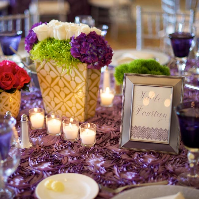 Wisteria purple rosette linens added texture to the colorful tablescapes.