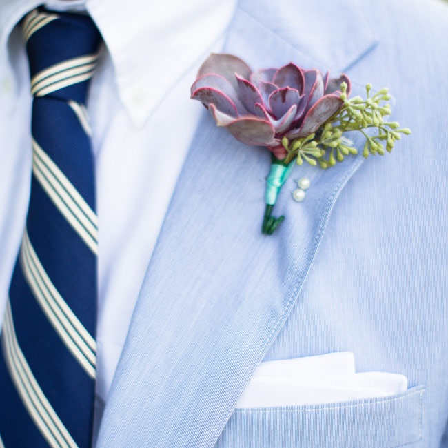 The men wore succulent boutonnieres.