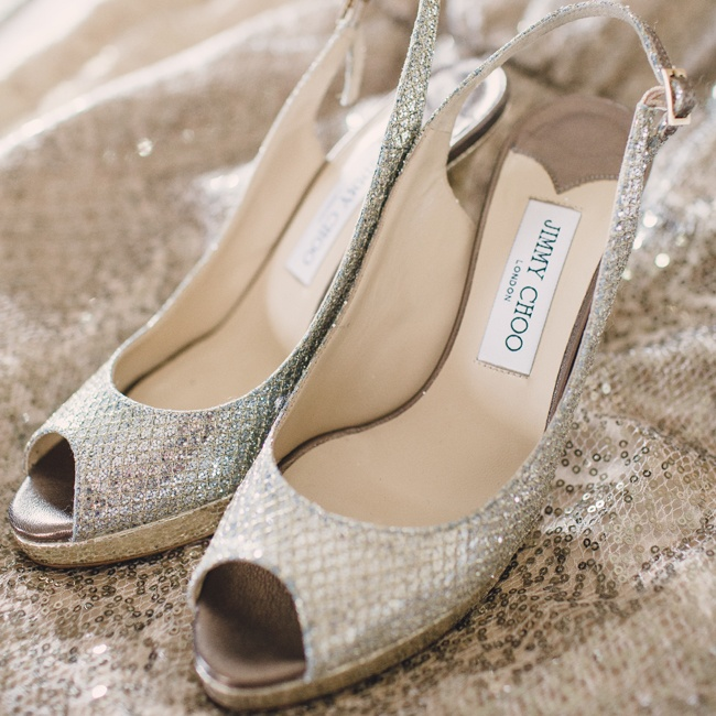 Rose walked down the aisle in these silver peep-toe Jimmy Choo heels.