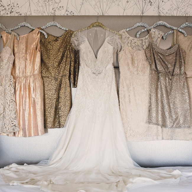 Each bridesmaid had a different style and color of dress in sparkly, metallic colors.