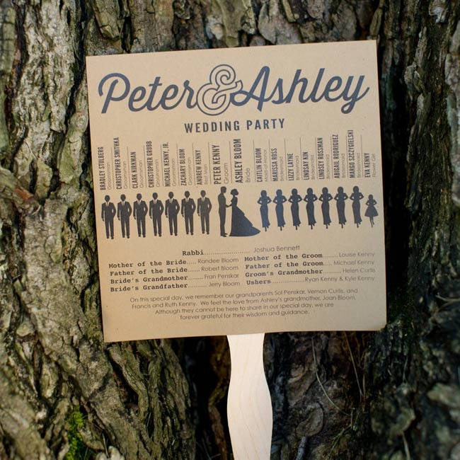 Guests received an infographic program printed on a kraft paper fan for the outdoor ceremony.