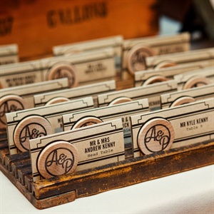 Wooden Nickel Escort Cards