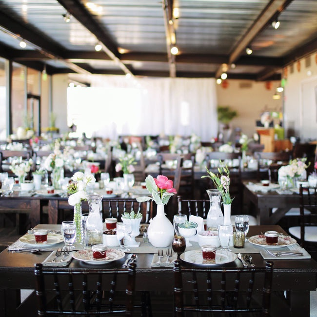Jessica and Stephen's reception was held in the Clubhouse at the Sand Hollow Resort. The couple put their own personal touch on the modern space, creating a rustic chic vibe, with vintage china, simple floral arrangements, potted succulents and lacy table runners.