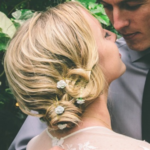 Pretty Floral Pin Updo