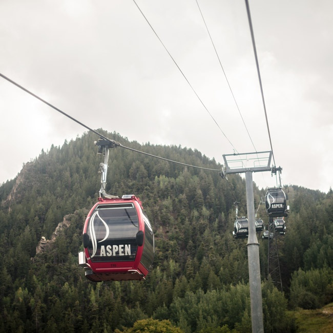 The couple and their guests took the chairlift to the top of the mountain where the festivities were held.