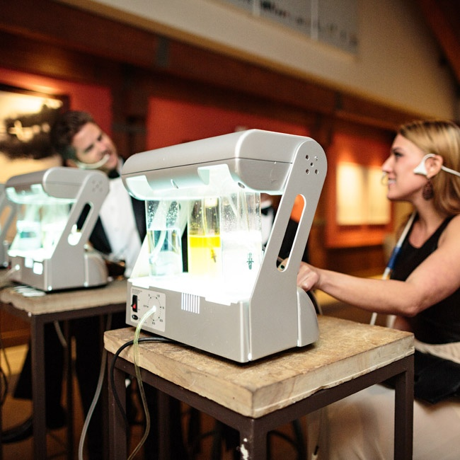 The couple incorporated a unique element in their reception - an oxygen bar.