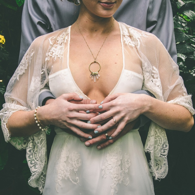 Mackenzie wore unique and beautiful jewelry to complement her dress, including a circular necklace by Lux Divine and Anthropologie earrings.