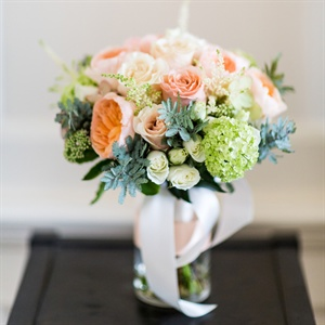 Peach, Ivory and Green Bridal Bouquet