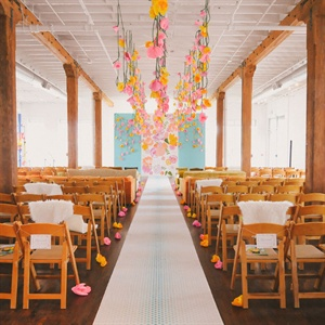 Pink and Yellow Paper Flower Decor