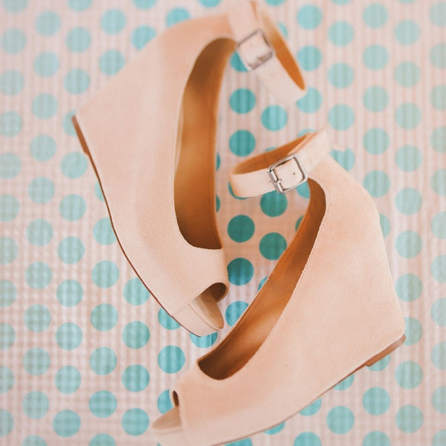 "Carissa chose nude wedge heels with an ankle strap that would allow her ""to dance my heart out without feeling constrained (but still matching my theme)!""."