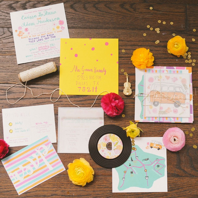 """The couple's invitations included a """"vinyl"""" CD with their favorite songs from the '60s and '70s. Guests were instructed to listen to them as they got ready for the event to get them in the spirit of their retro wedding."""