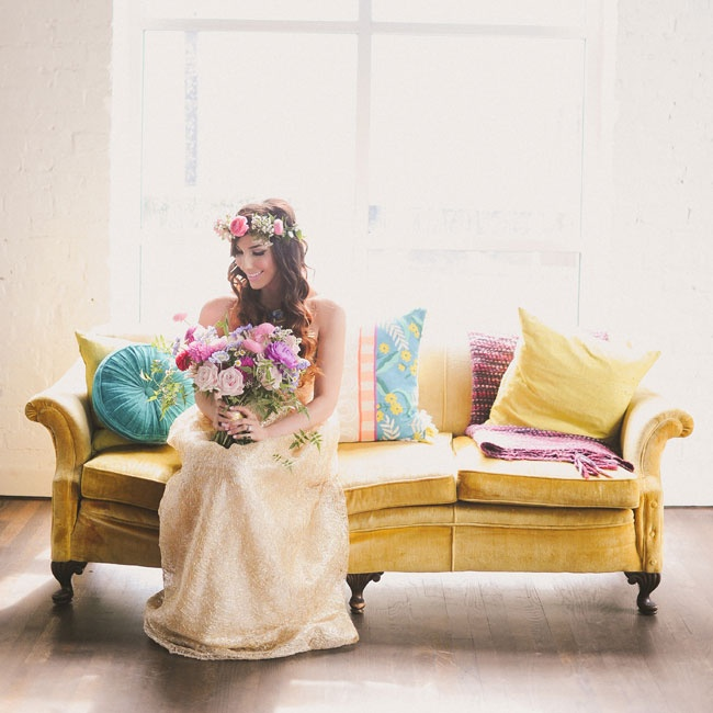 """I wanted a unique but beautiful bohemian glam look,"" Carissa says of her gold