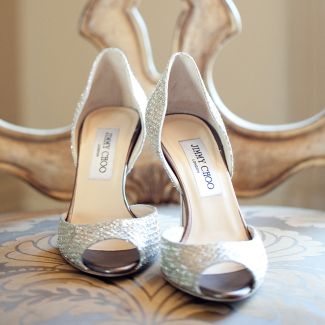 For a glam touch, Susan wore shimmery silver Jimmy Choo peep toe heels.