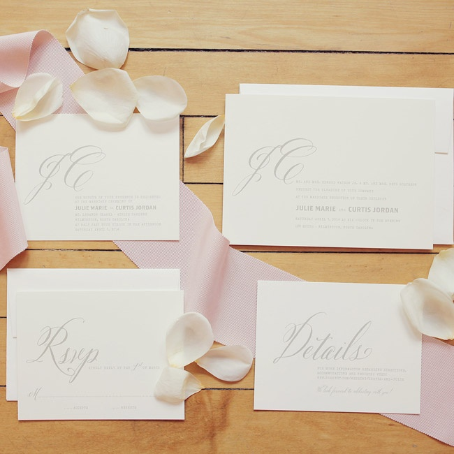 Julie and Curtis kept their invitations simple and classic with ivory paper and light gray script.
