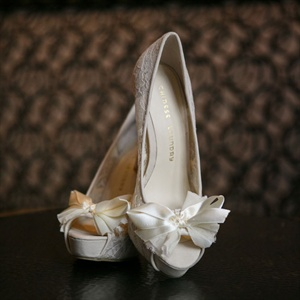 Lacy White Peep Toe Heels